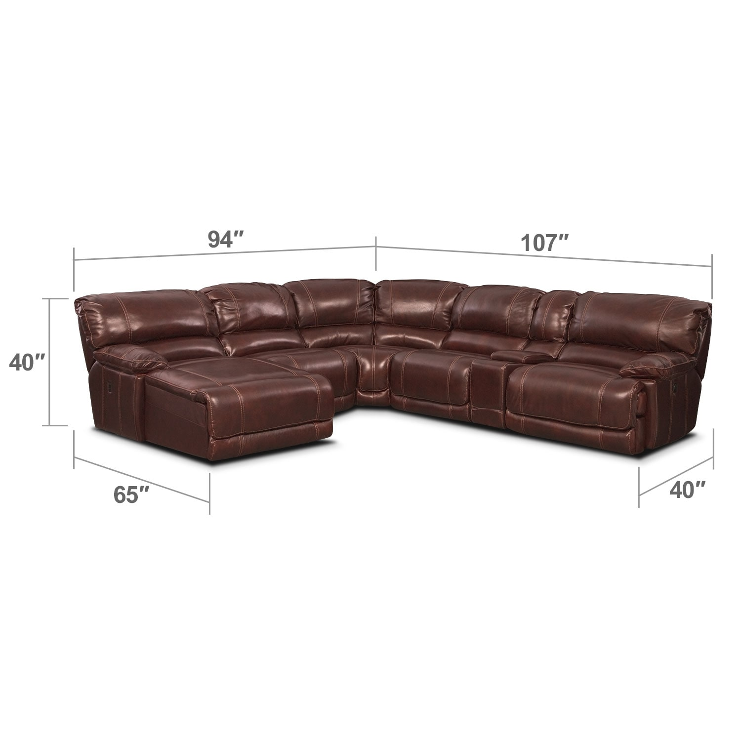 Living Room Furniture - St. Malo III 6 Pc. Power Reclining Sectional (Reverse)