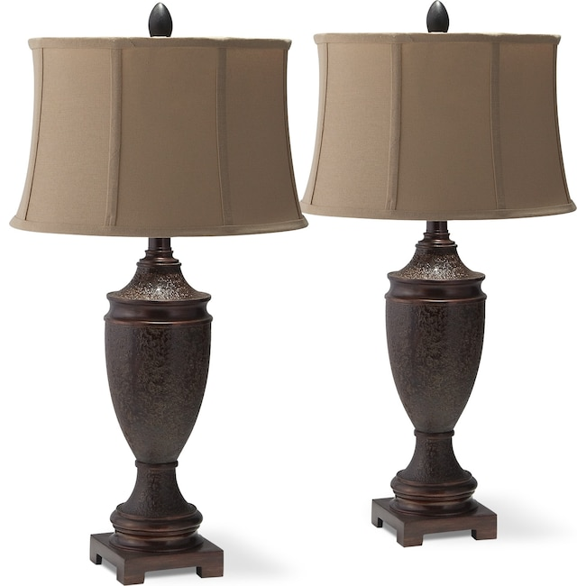 Home Accessories - Brown Urn 2-Pack Table Lamp Set