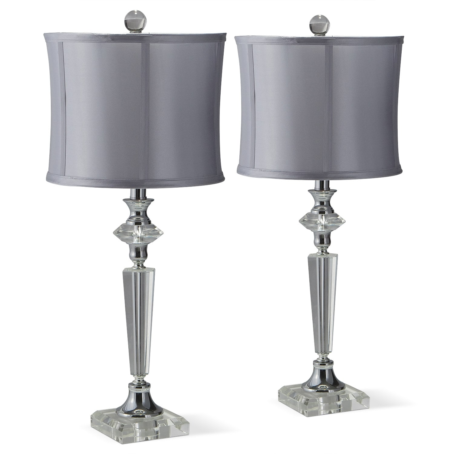 Home Accessories - Crystal Silver 2-Pack Table Lamps
