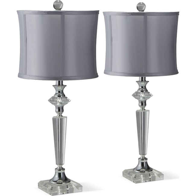 Crystal silver 2 pack table lamp set