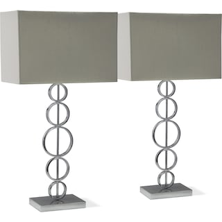 Chrome Circle 2-Pack Table Lamp Set
