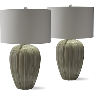 Gray Brown Ceramic 2-Pack Table Lamp Set