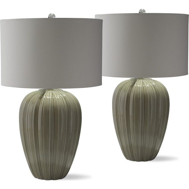 Home Accessories - Gray Brown Ceramic 2-Pack Table Lamp Set