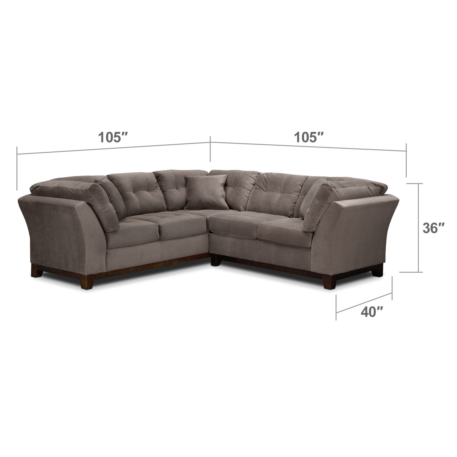 Living Room Furniture - Solace Gray II 2 Pc. Sectional (Alternate II Reverse)