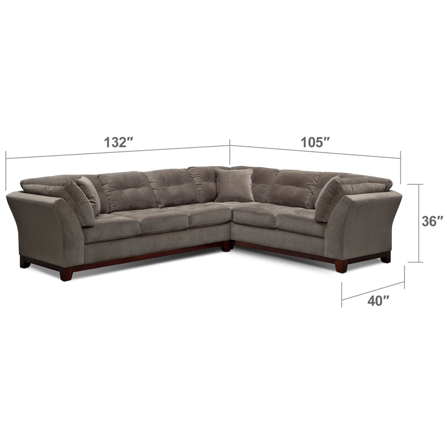 "Living Room Furniture - Solace 2-Piece Left-Facing 132"" Sofa Sectional - Gray"
