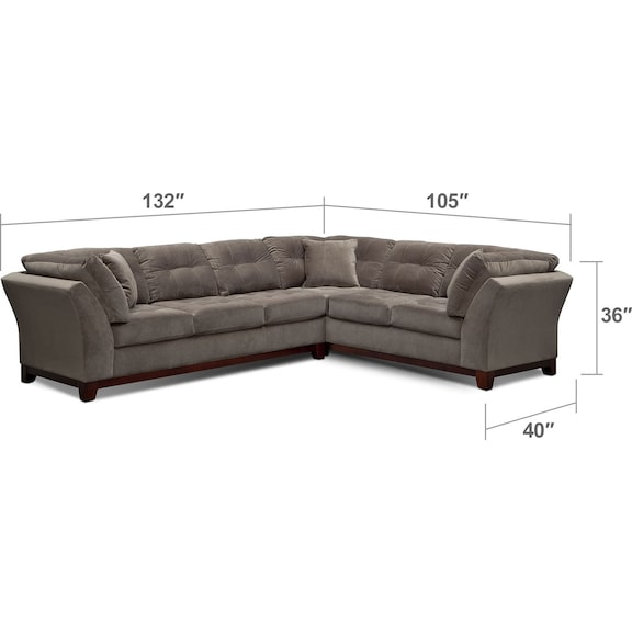 Living Room Furniture - Sebring 2-Piece Sectional with Left-Facing Sofa - Gray