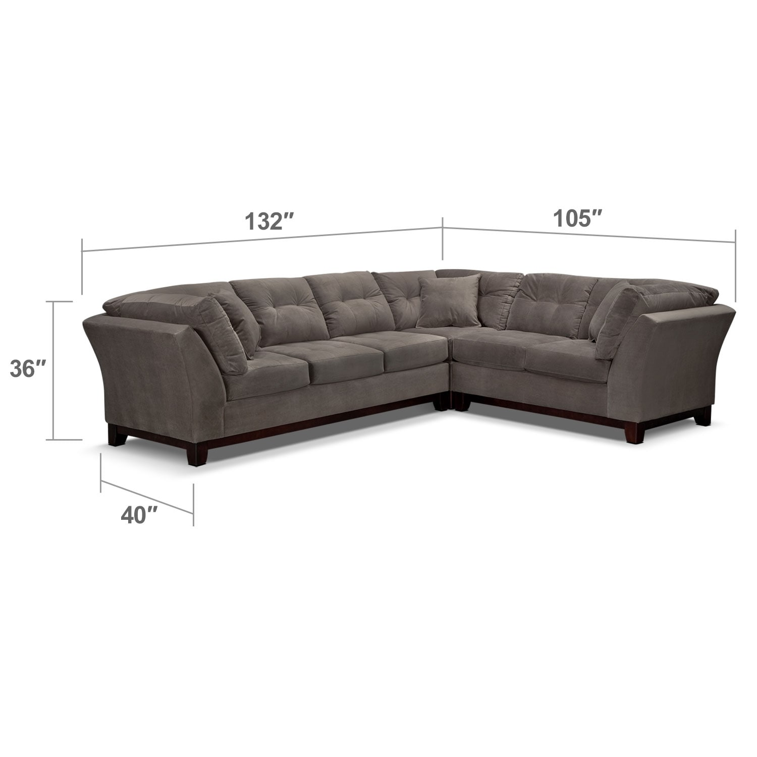 Living Room Furniture - Solace Gray II 3 Pc. Sectional (Reverse)