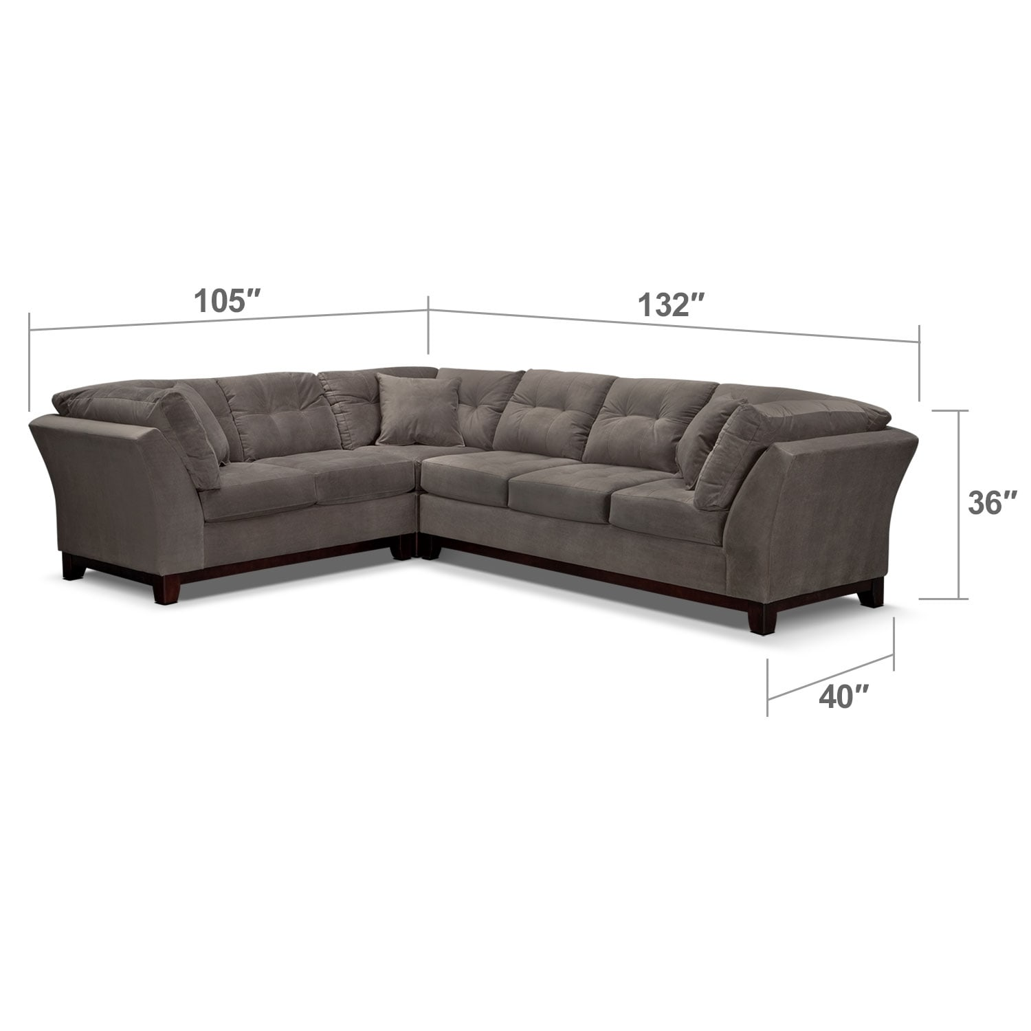 Living Room Furniture - Solace Gray II 3 Pc. Sectional