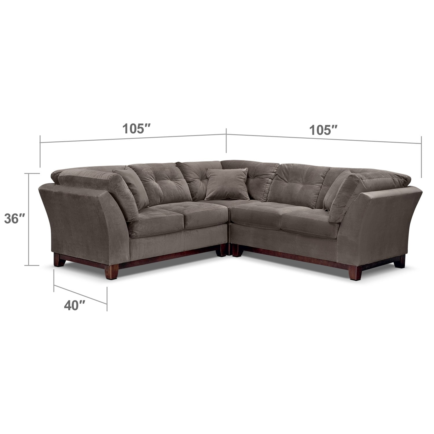 Living Room Furniture - Solace Gray II 3 Pc. Sectional (Alternate)
