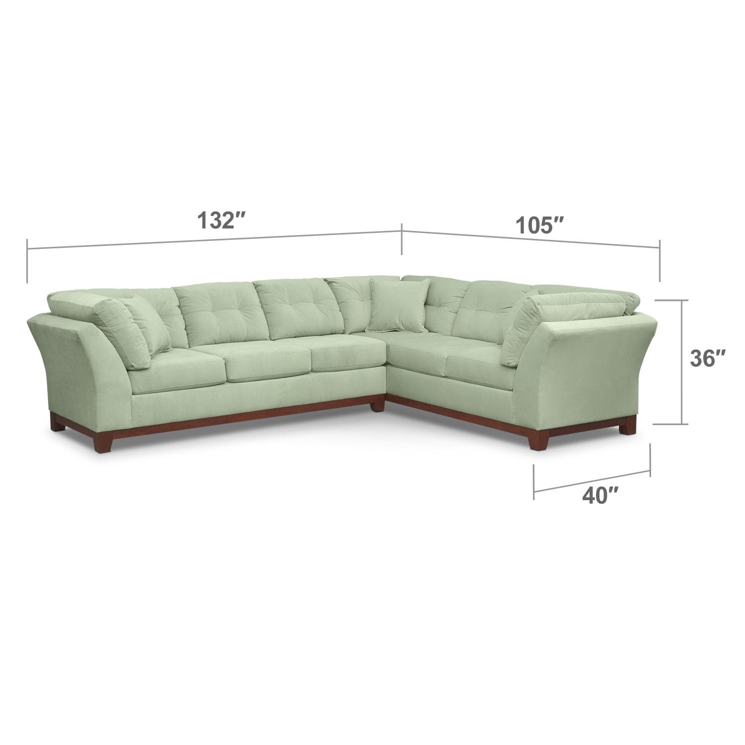 Living Room Furniture - Sebring 2-Piece Sectional with Left-Facing Sofa - Spa