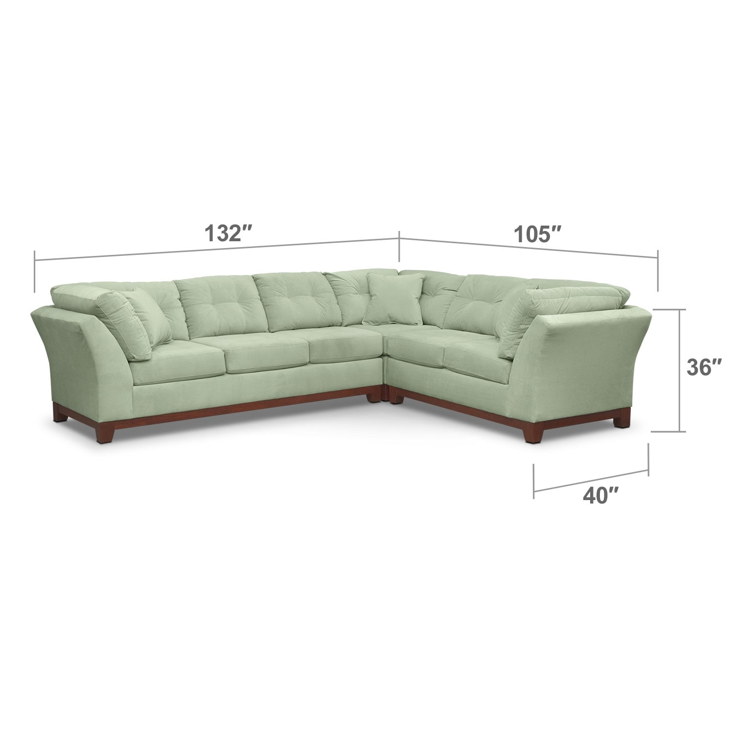 Living Room Furniture - Solace Spa II 3 Pc. Sectional (Reverse)