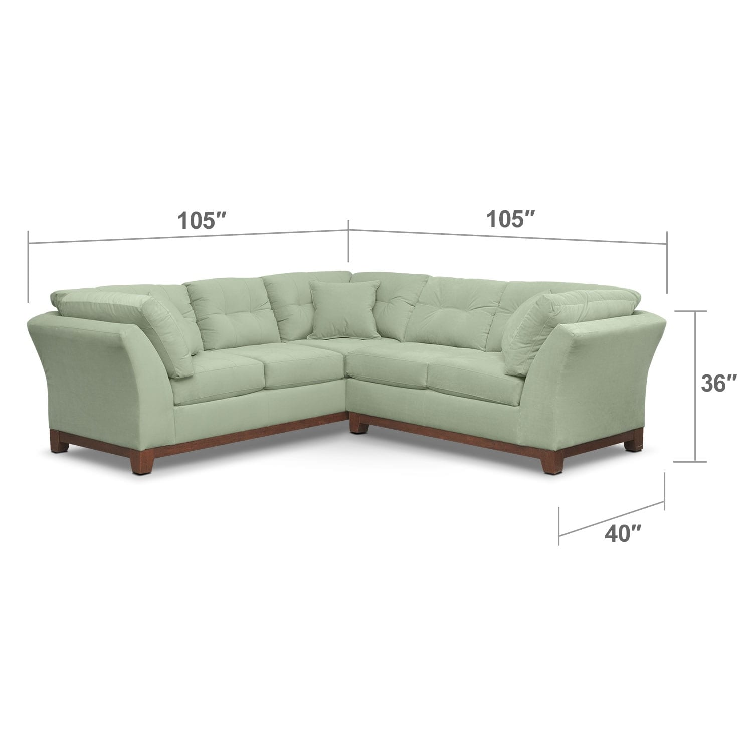 """Living Room Furniture - Solace 2-Piece Left-Facing 105"""" Sofa Sectional - Spa"""