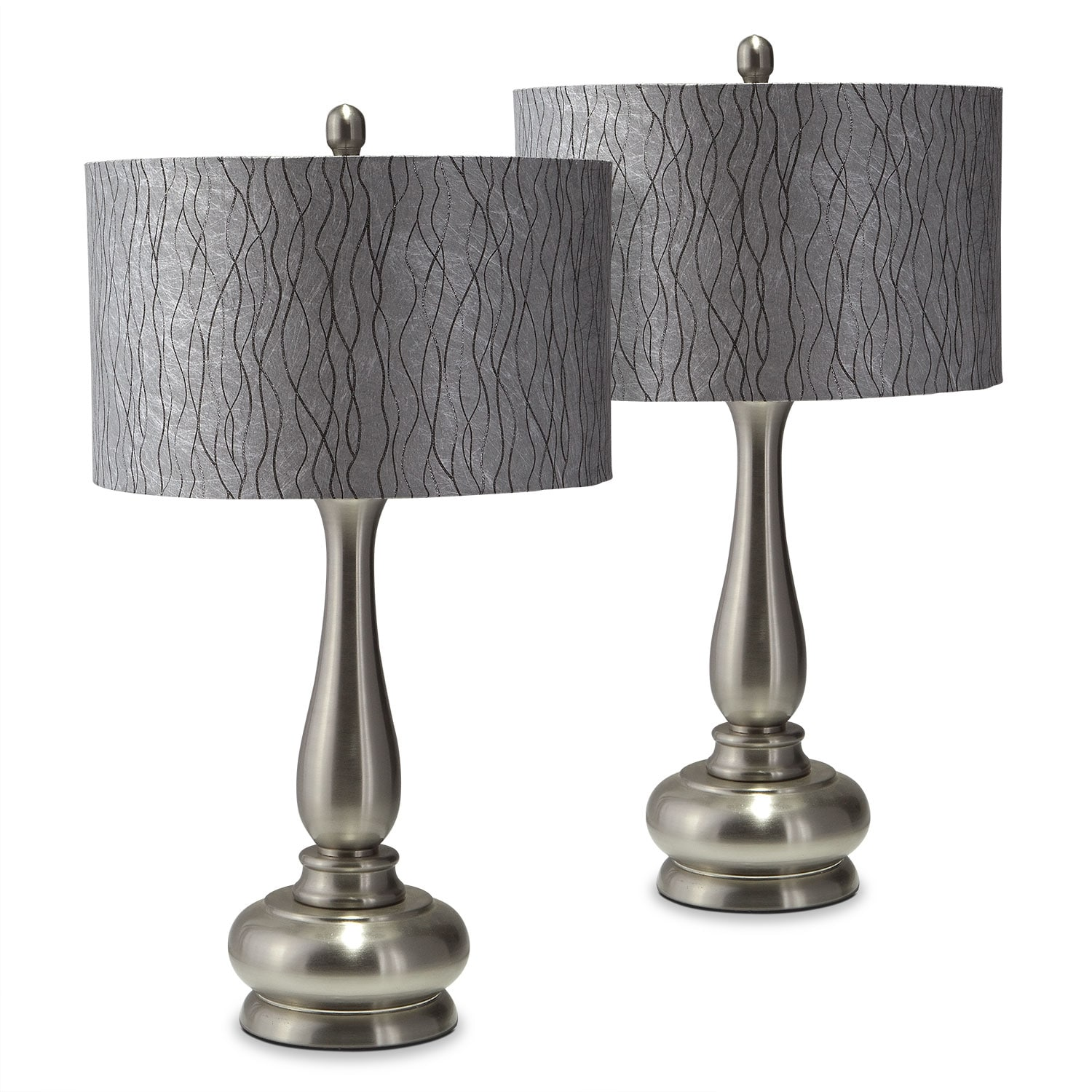 metal silver 2 pack table lamp set value city furniture