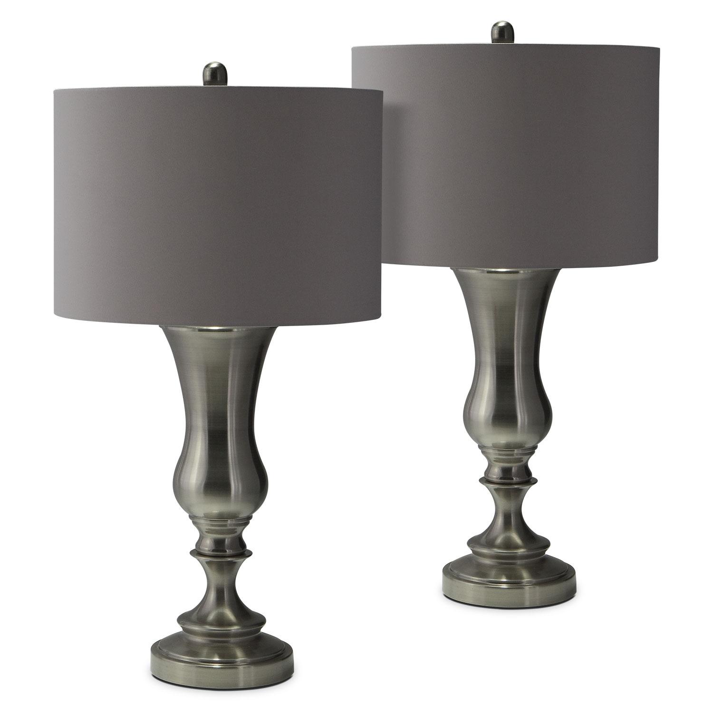 Home Accessories   Brush Coal Urn 2 Pack Table Lamp Set
