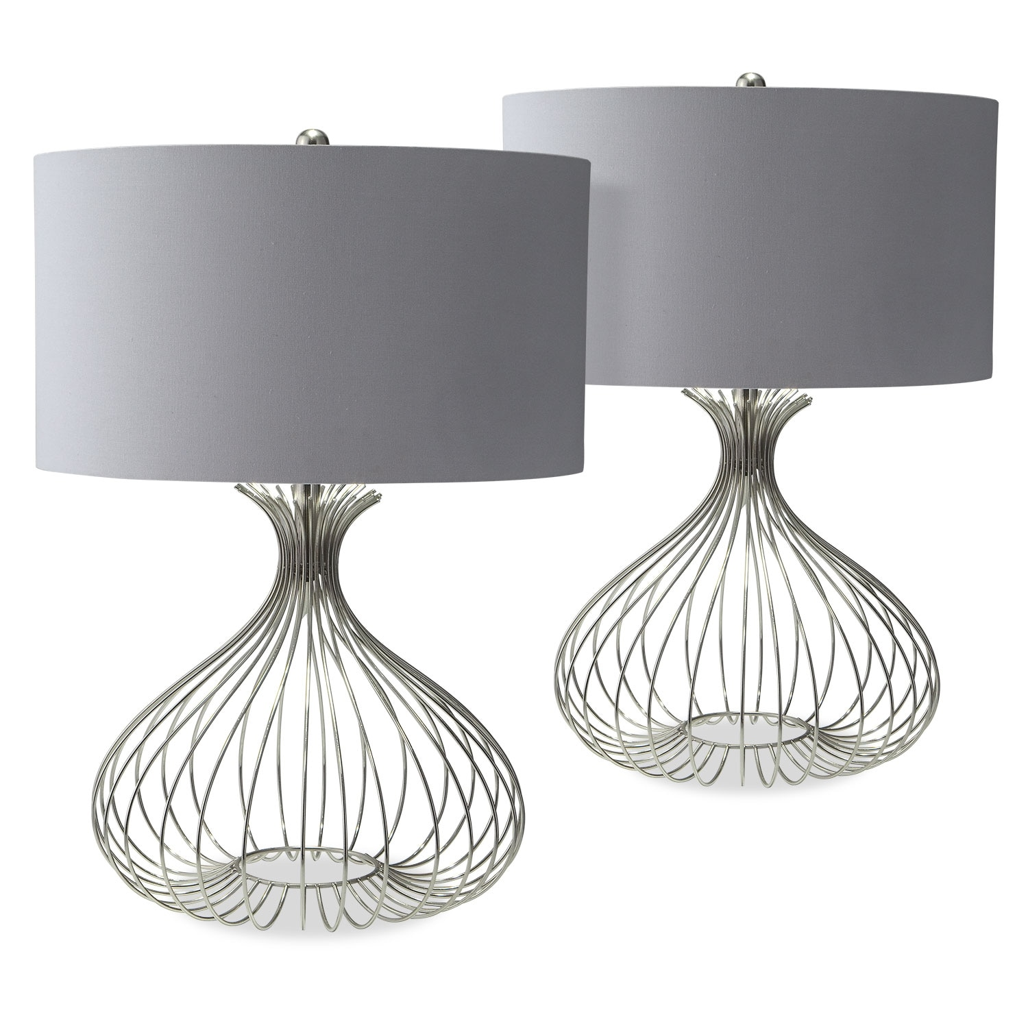 Nickel Wire 2-Pack Table Lamp Set