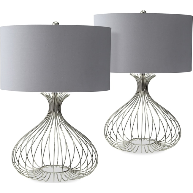 Nickel Wire 2-Pack Table Lamp Set | Value City Furniture and Mattresses