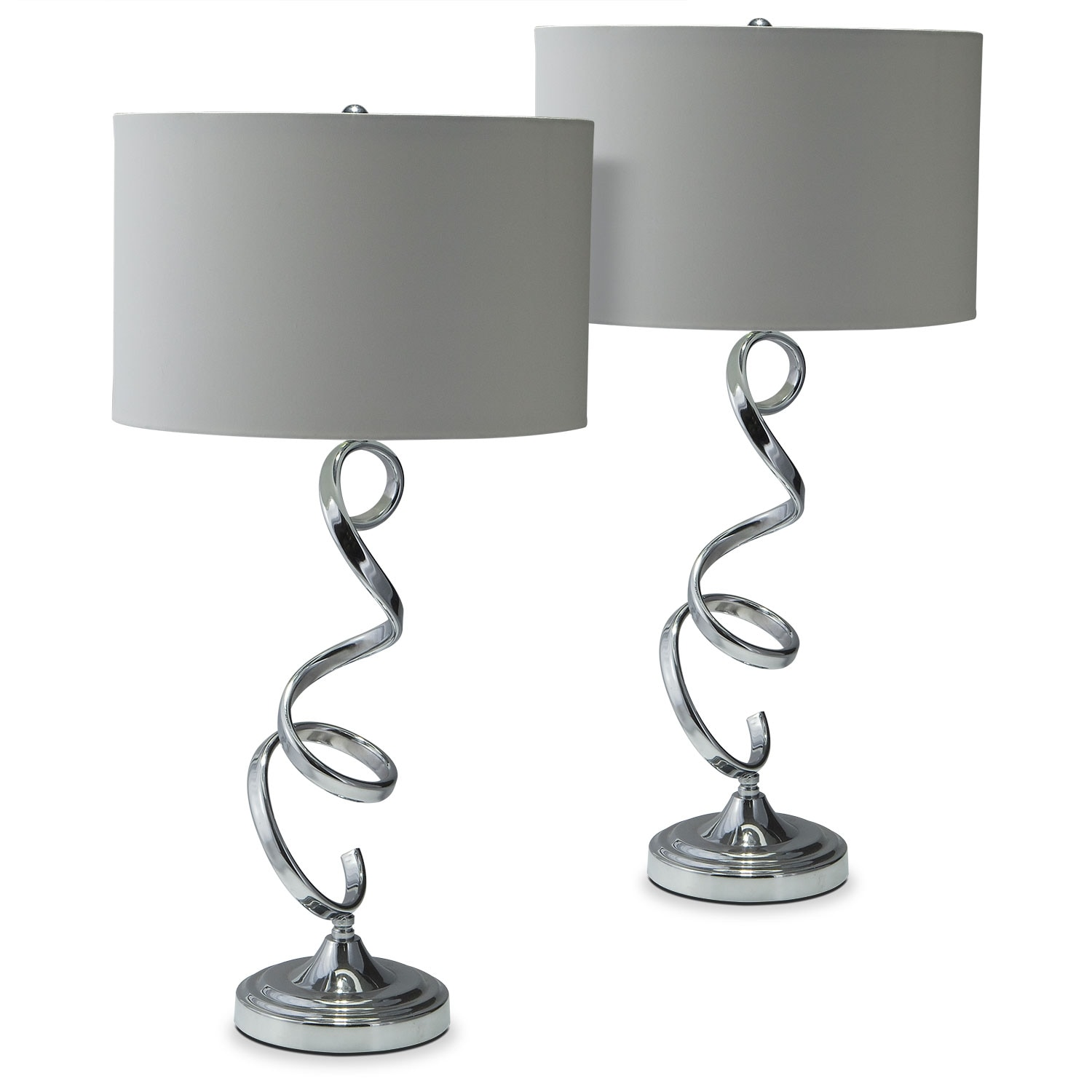Nickel Swirl 2-Pack Table Lamp Set