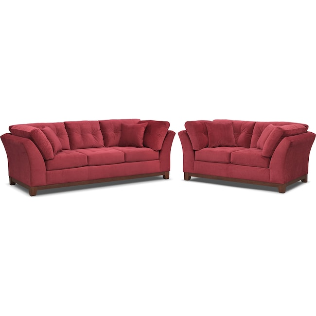 Living Room Furniture - Sebring Sofa and Loveseat Set - Poppy