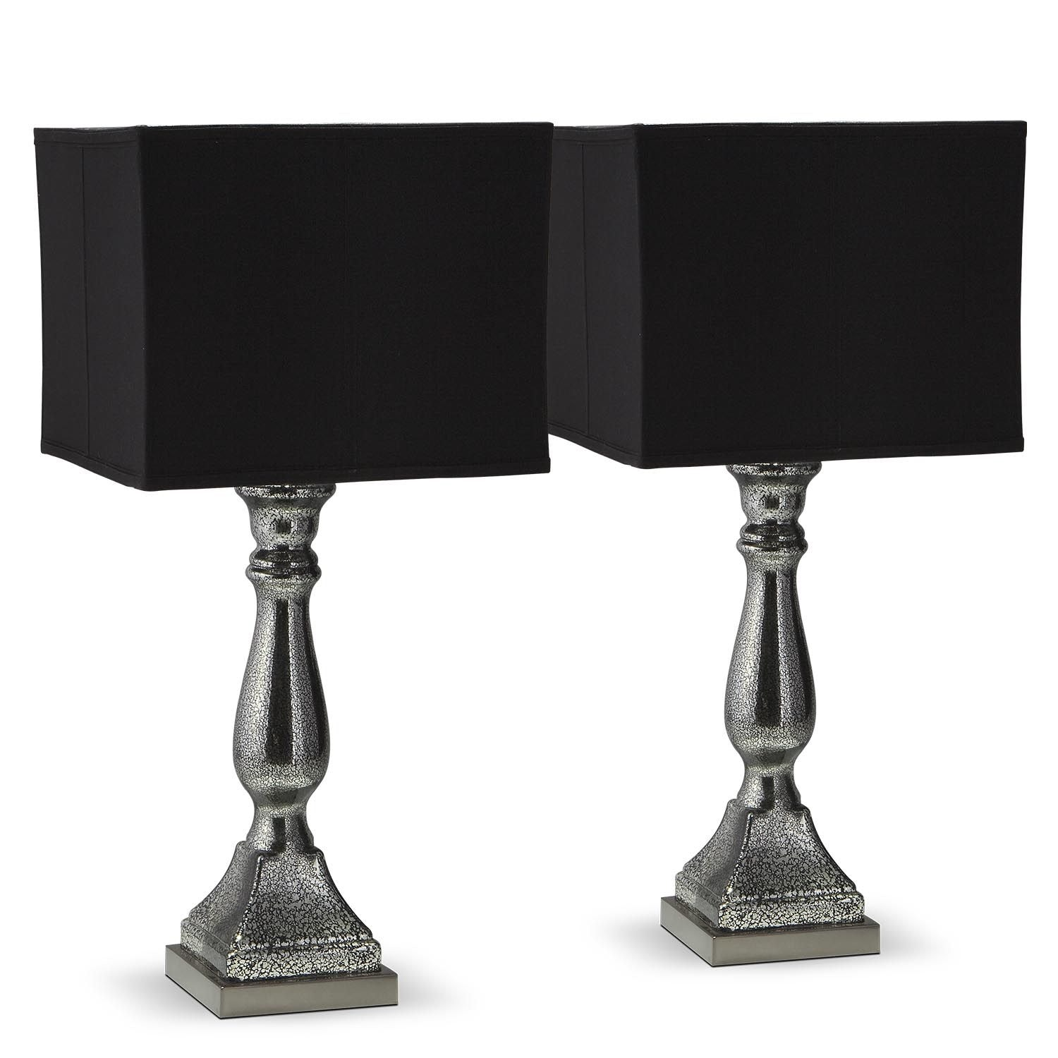 Silver Black Mercury Table Lamp Value City Furniture