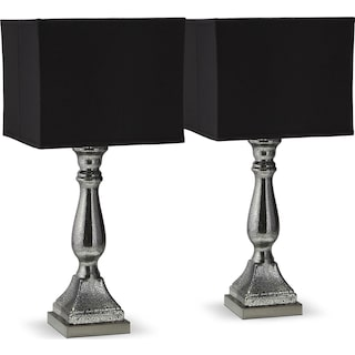 Silver Black Mercury 2-Pack Table Lamp Set