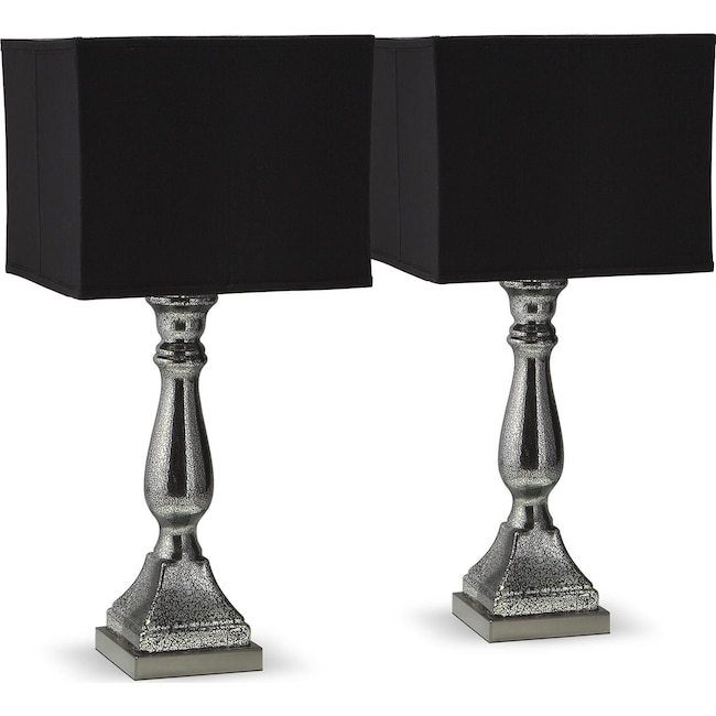 Home Accessories - Silver Black Mercury 2-Pack Table Lamp Set