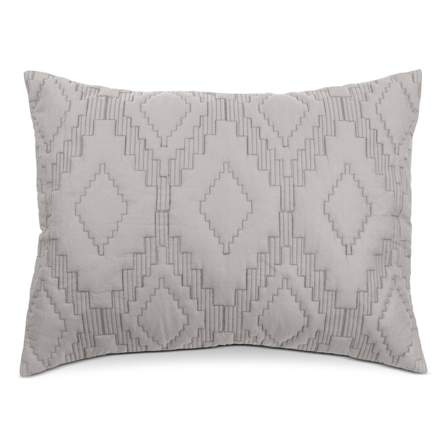Accent and Occasional Furniture - Dapper King Quilted Sham - Gray