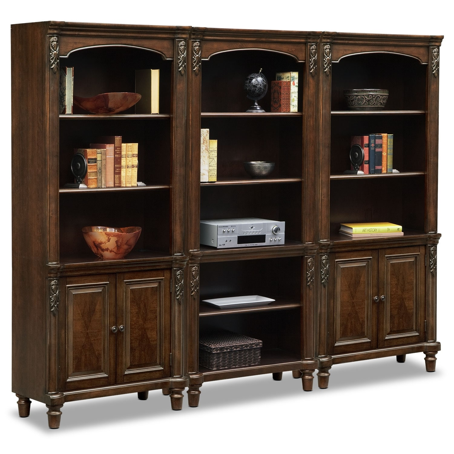 Home Office Furniture - Ashland Wall Bookcase w/ Two Cabinets