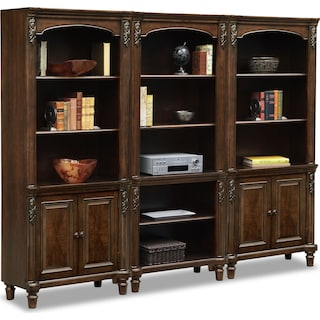 Ashland Wall Bookcase with 2 Cabinets
