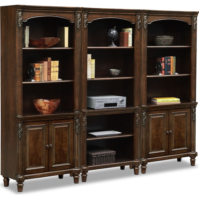 Home Office Furniture - Ashland Wall Bookcase with 2 Cabinets