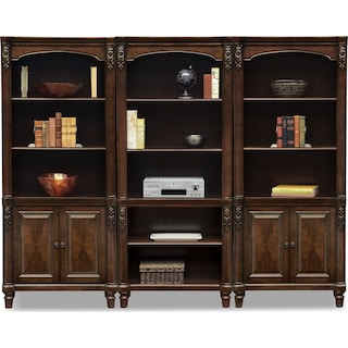 Ashland Wall Bookcase With 2 Cabinets Cherry