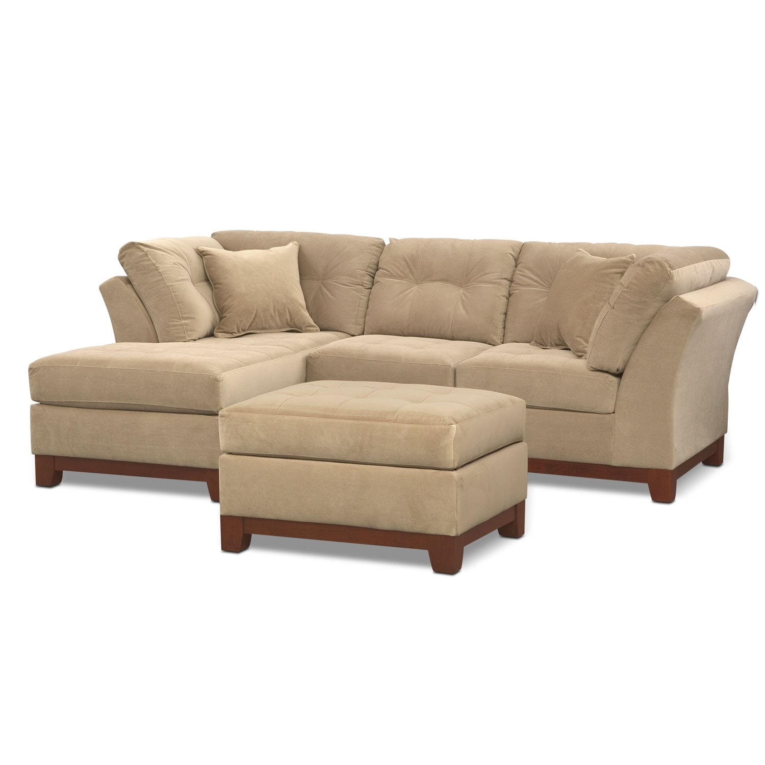 Living Room Furniture - Solace Cocoa II 2 Pc. Sectional (Alternate) and Ottoman