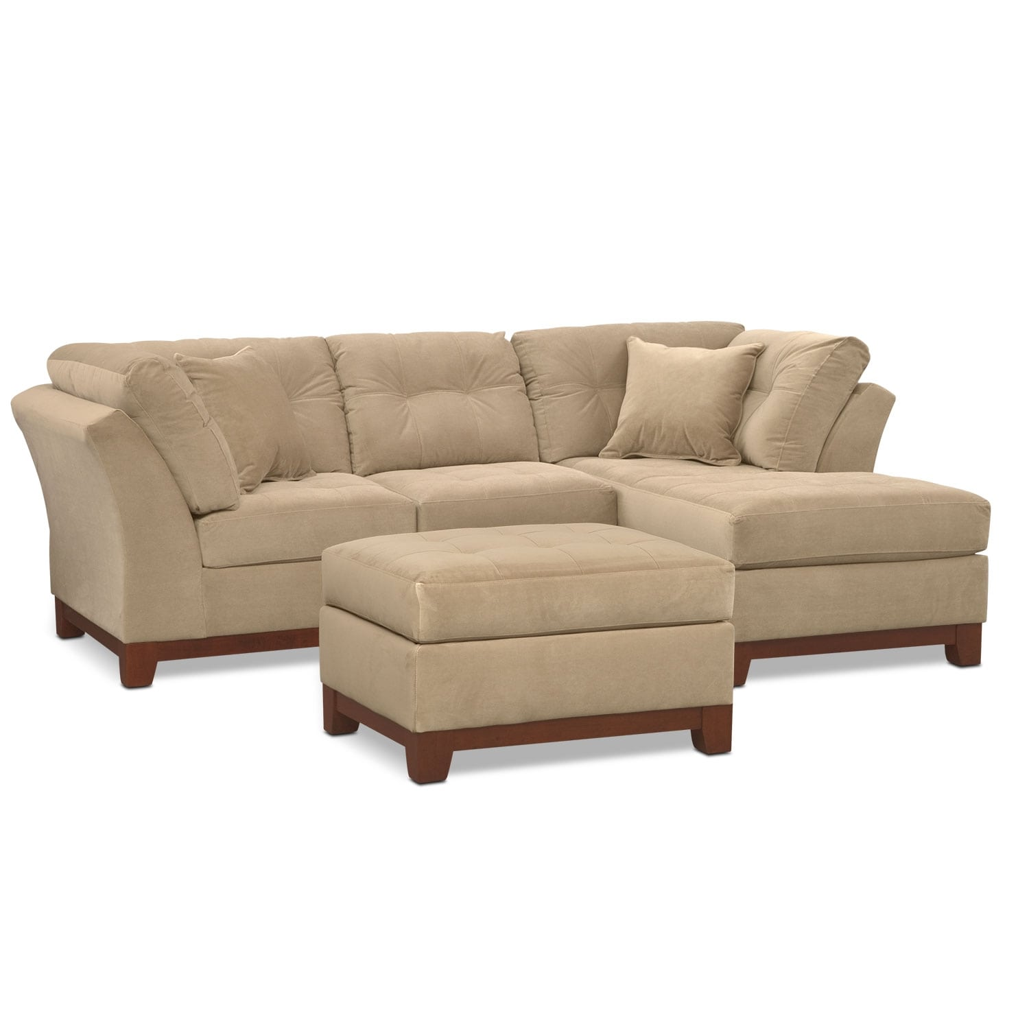 Living Room Furniture - Solace Cocoa II 2 Pc. Sectional (Alternate Reverse) and Ottoman