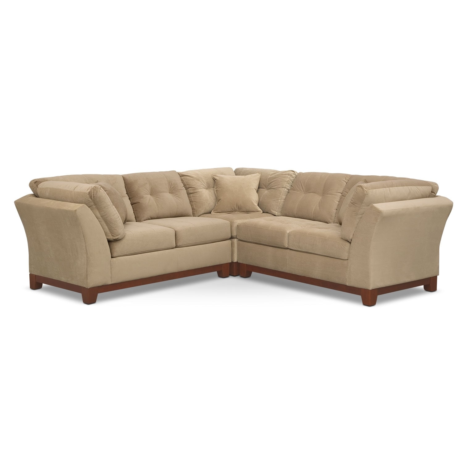Living Room Furniture - Solace 3-Piece Sectional - Cocoa