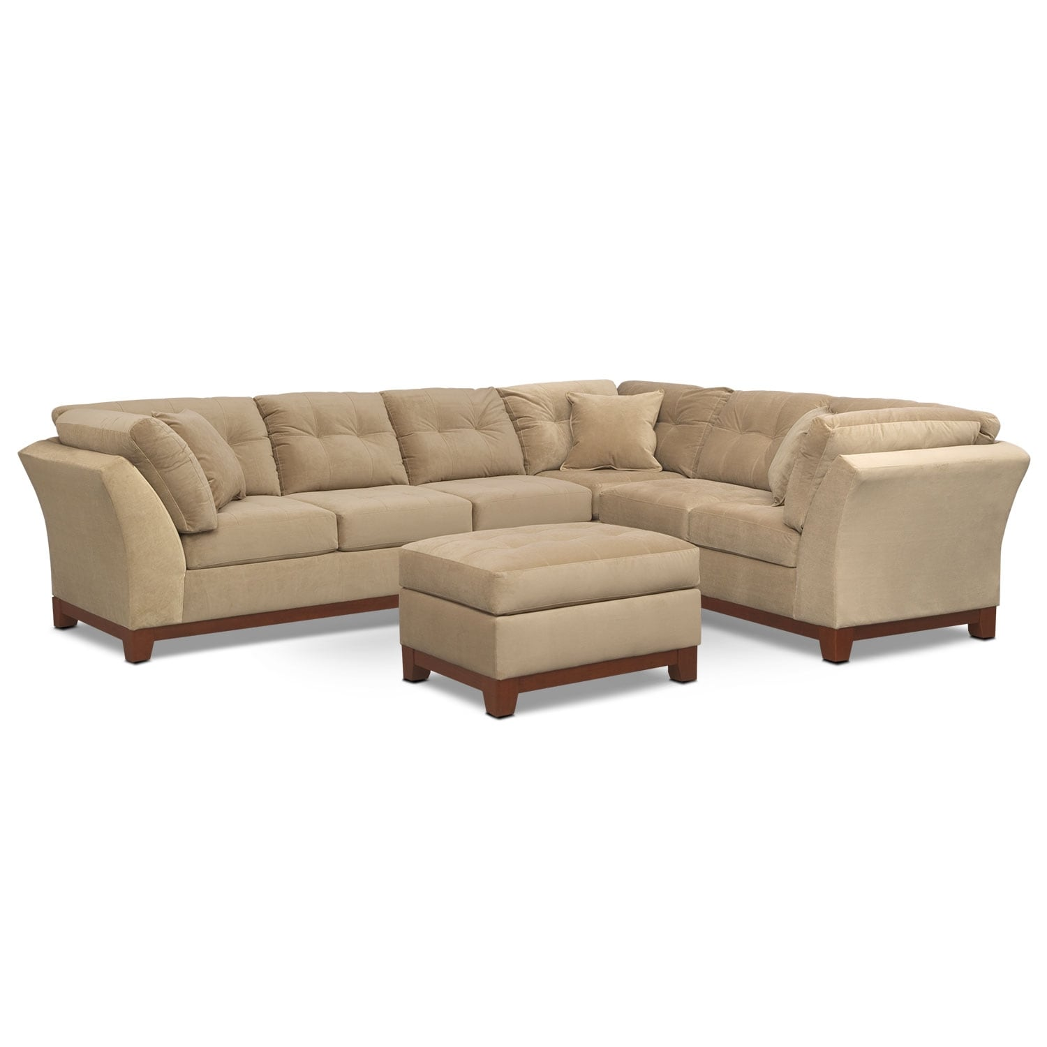[Solace Cocoa II 3 Pc. Sectional (Reverse) and Ottoman]