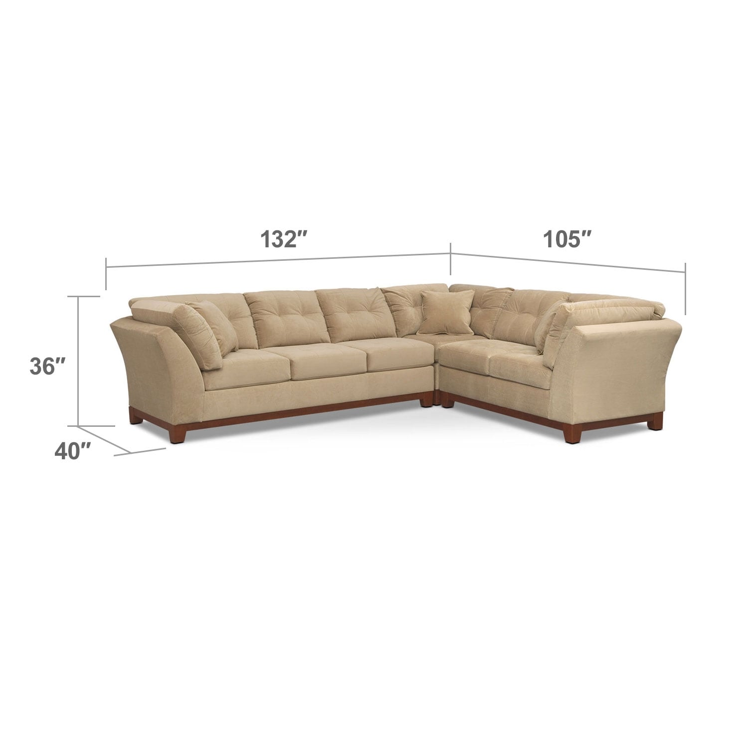 Living Room Furniture - Solace 3-Piece Left-Facing Sofa Sectional - Cocoa