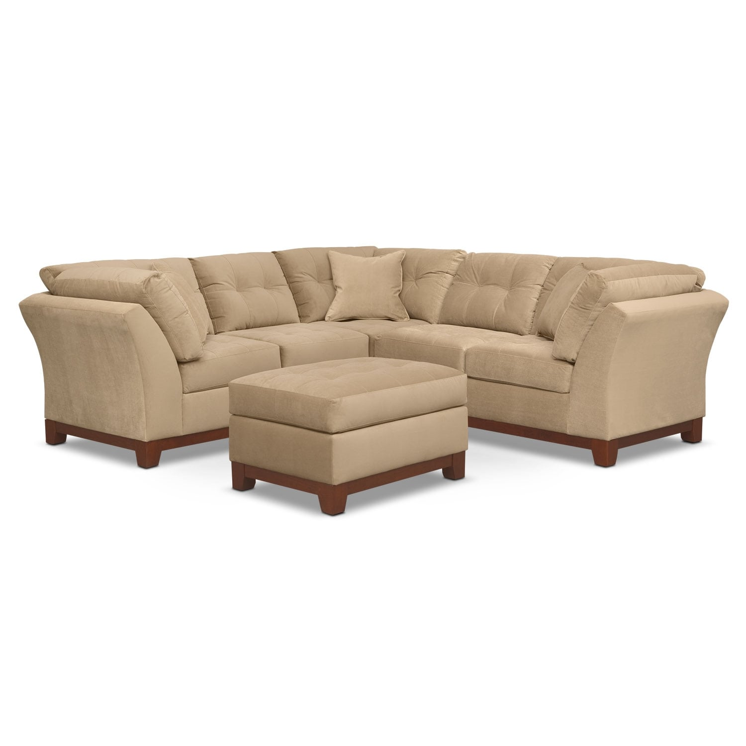 Living Room Furniture - Solace Cocoa II 2 Pc. Sectional (Alternate II Reverse) and Ottoman