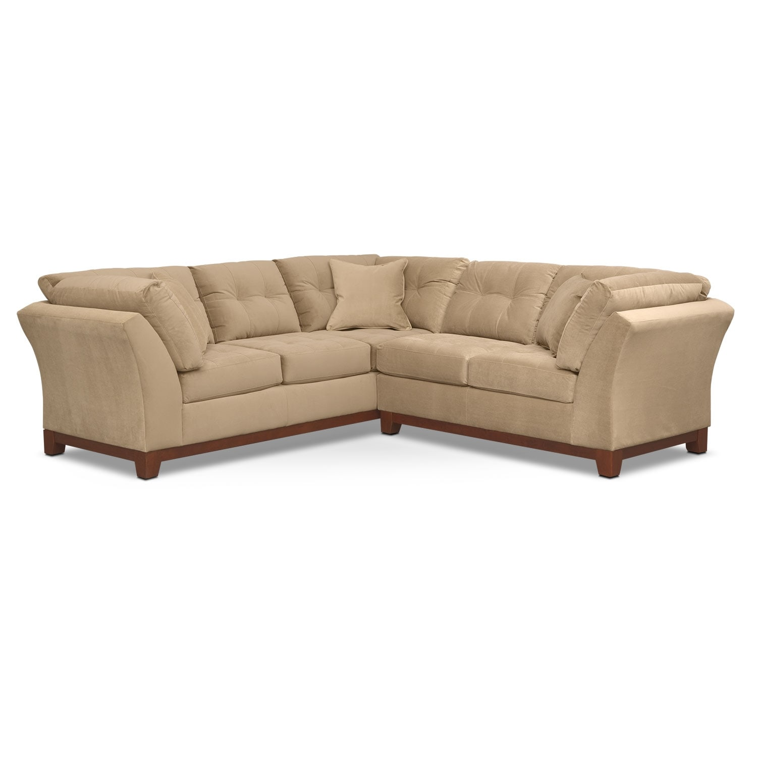 """Living Room Furniture - Solace 2-Piece Left-Facing 105"""" Sofa Sectional - Cocoa"""