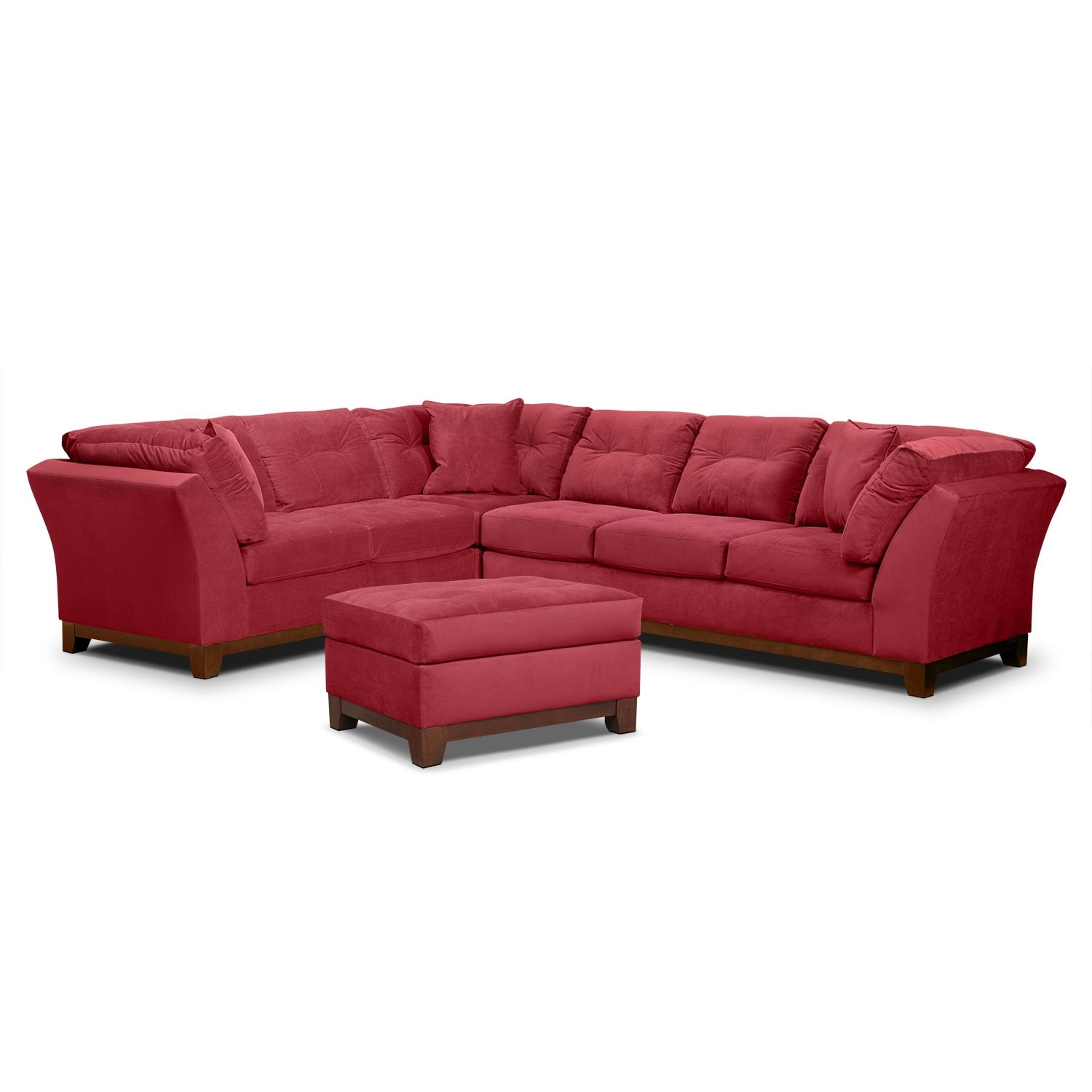 Living Room Furniture - Solace Poppy II 3 Pc. Sectional and Ottoman
