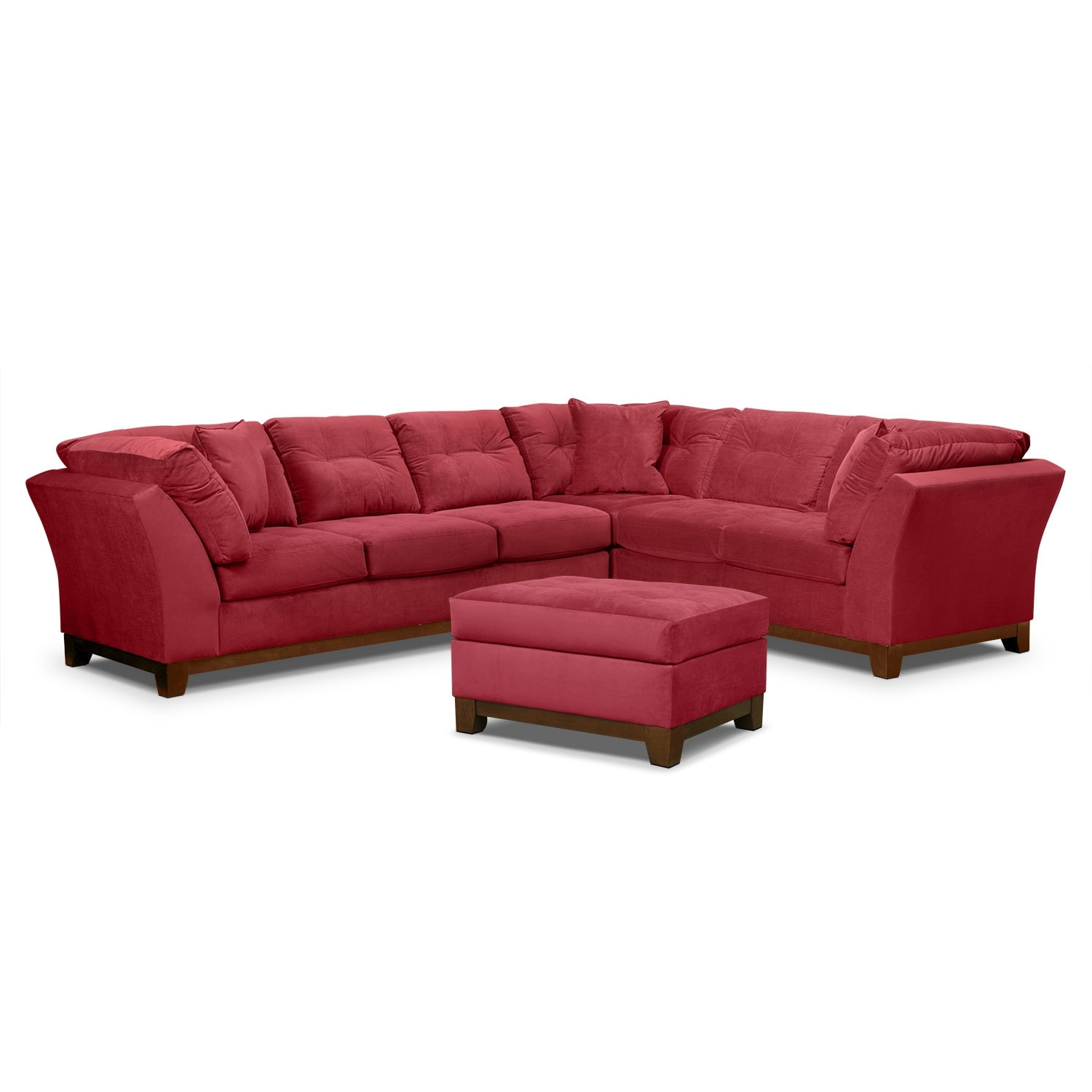 Living Room Furniture - Solace Poppy II 3 Pc. Sectional (Reverse) and Ottoman