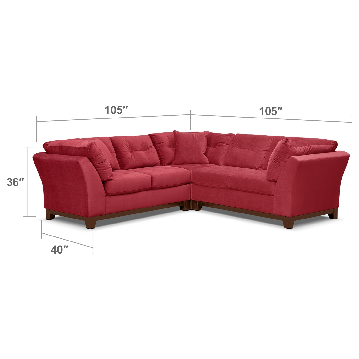 Living Room Furniture - Solace 3-Piece Sectional - Poppy