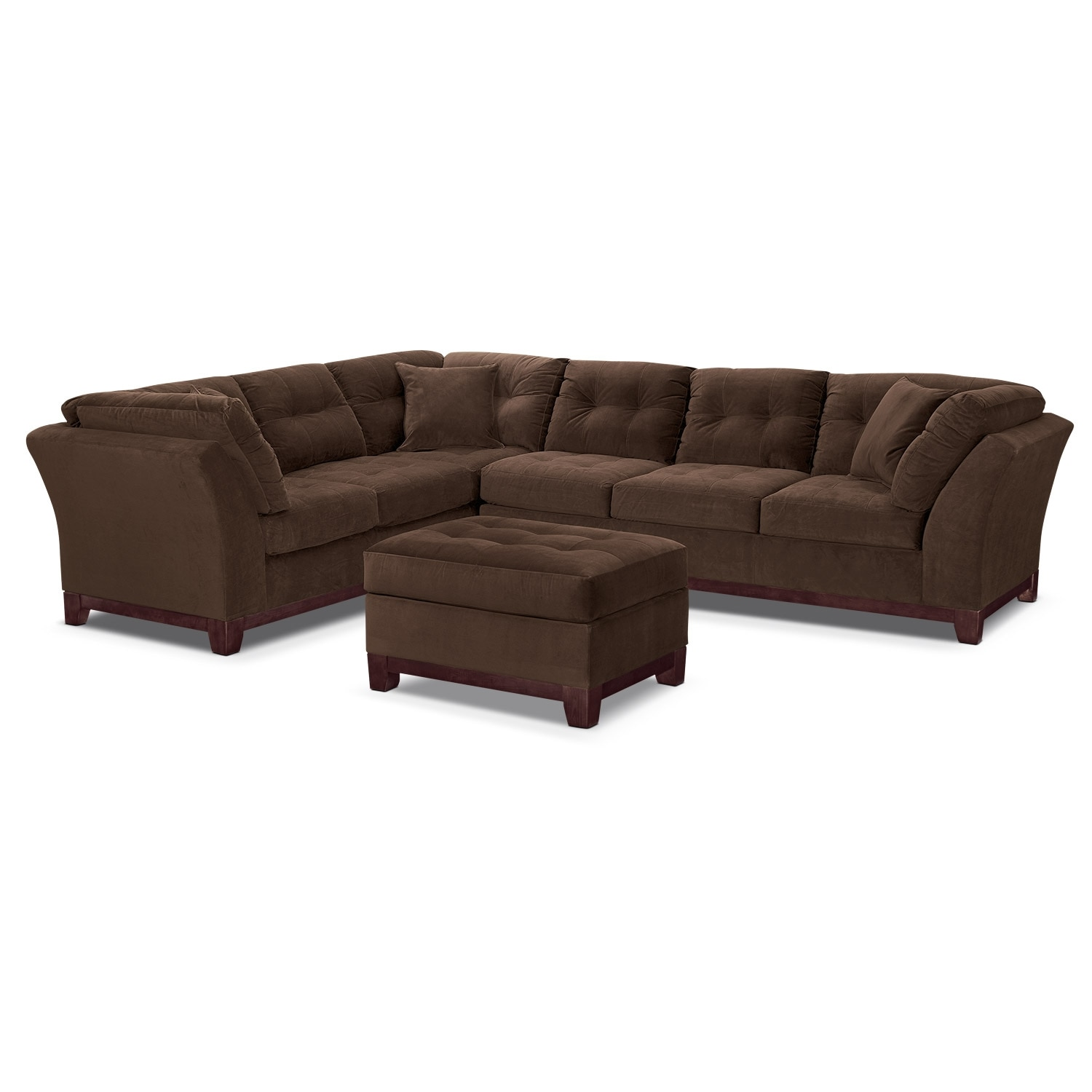Living Room Furniture - Solace Chocolate II 3 Pc. Sectional and Ottoman