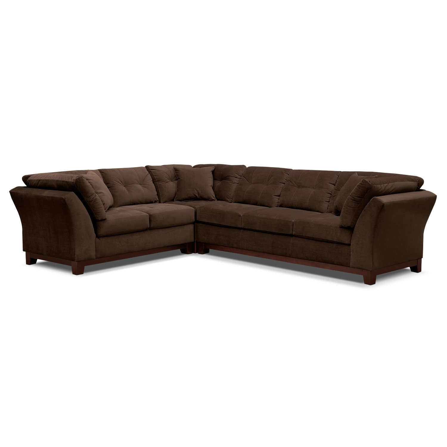 Living Room Furniture - Solace Chocolate II 3 Pc. Sectional