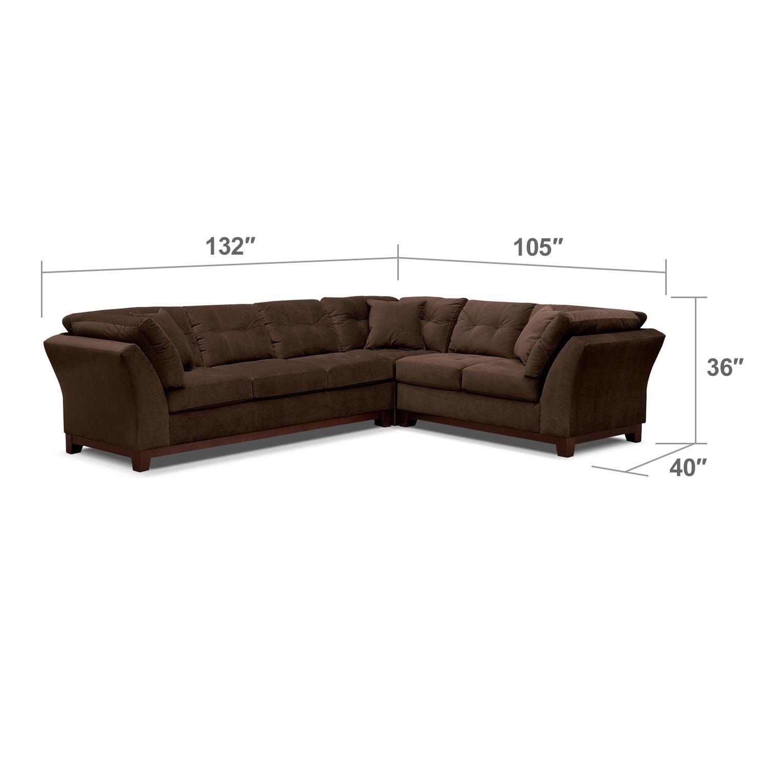 Living Room Furniture - Solace Chocolate II 3 Pc. Sectional (Reverse)