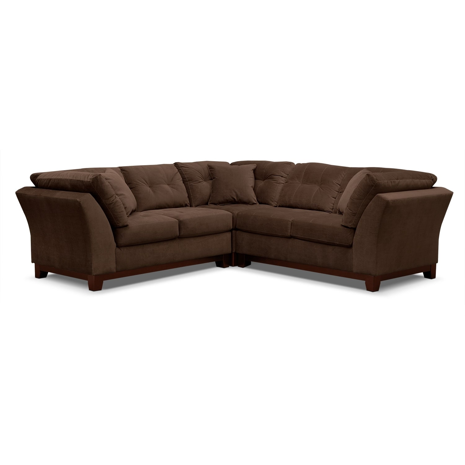 Living Room Furniture - Solace 3-Piece Sectional - Chocolate