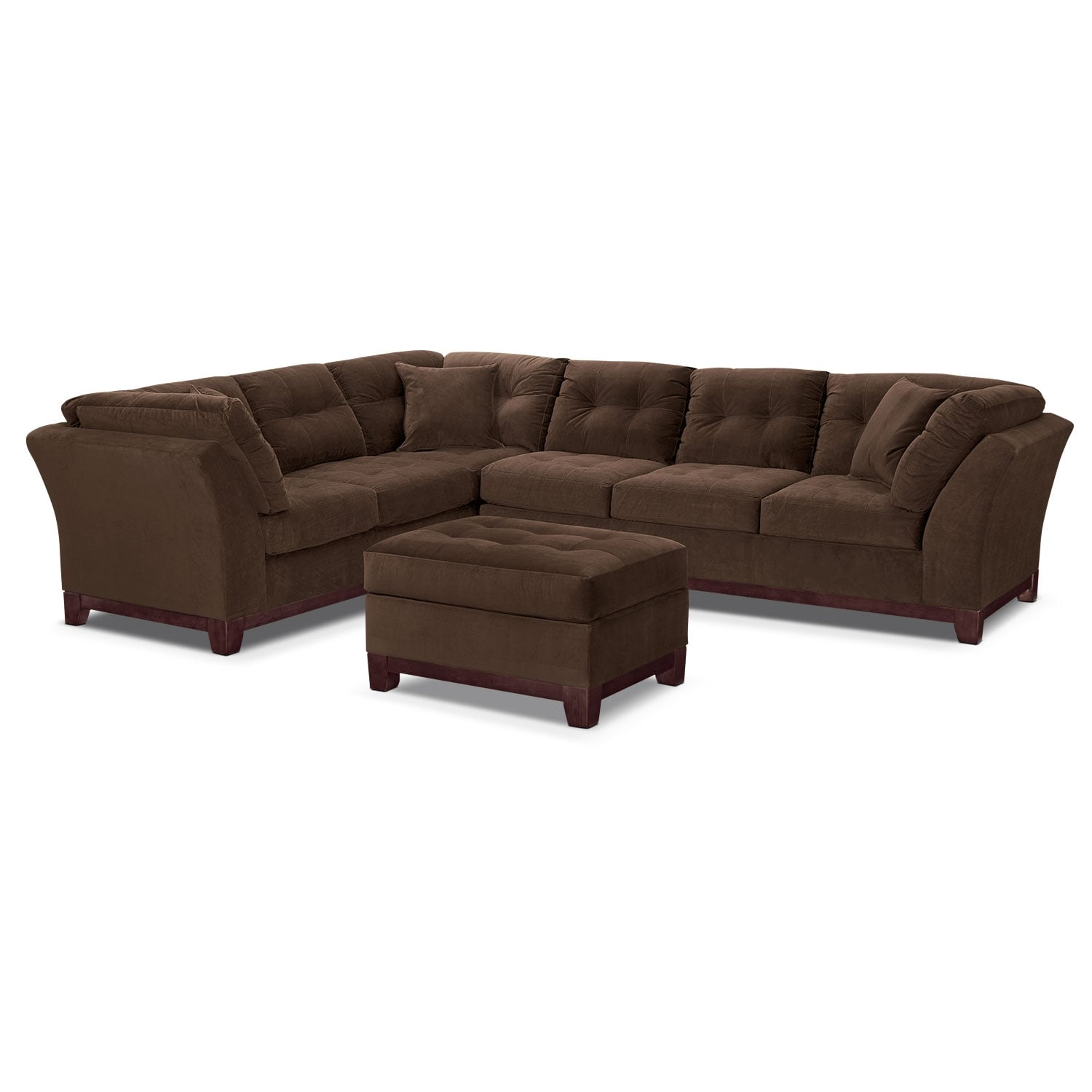 Solace Chocolate II 2 Pc. Sectional and Ottoman