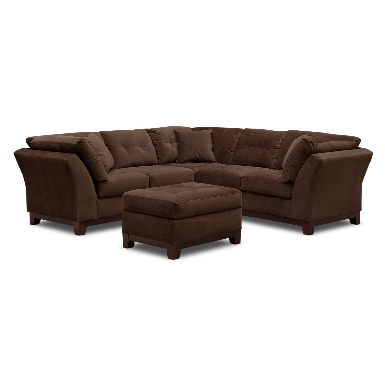 Solace Chocolate II 2 Pc. Sectional (Alternate II) and Ottoman
