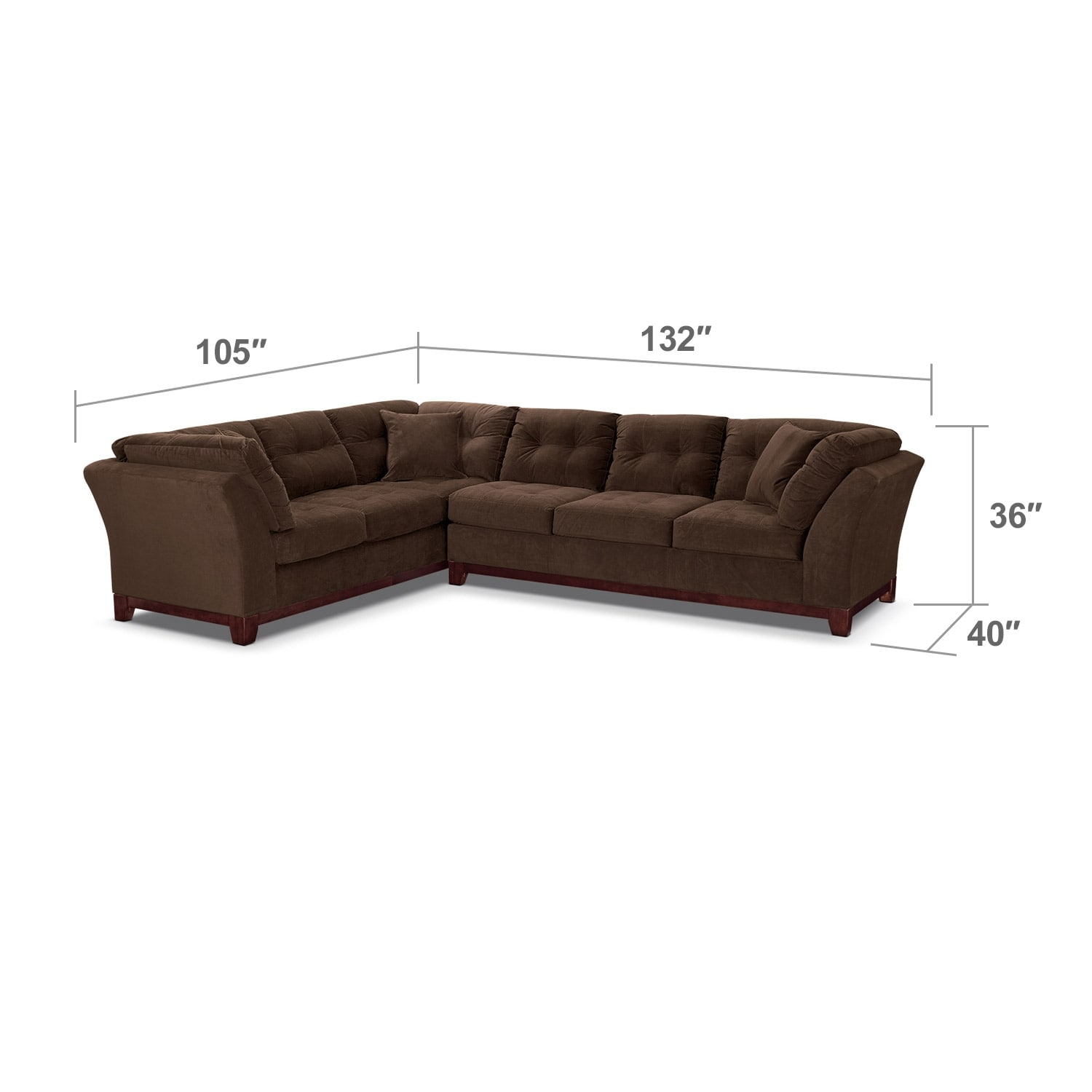 Living Room Furniture - Solace Chocolate II 2 Pc. Sectional