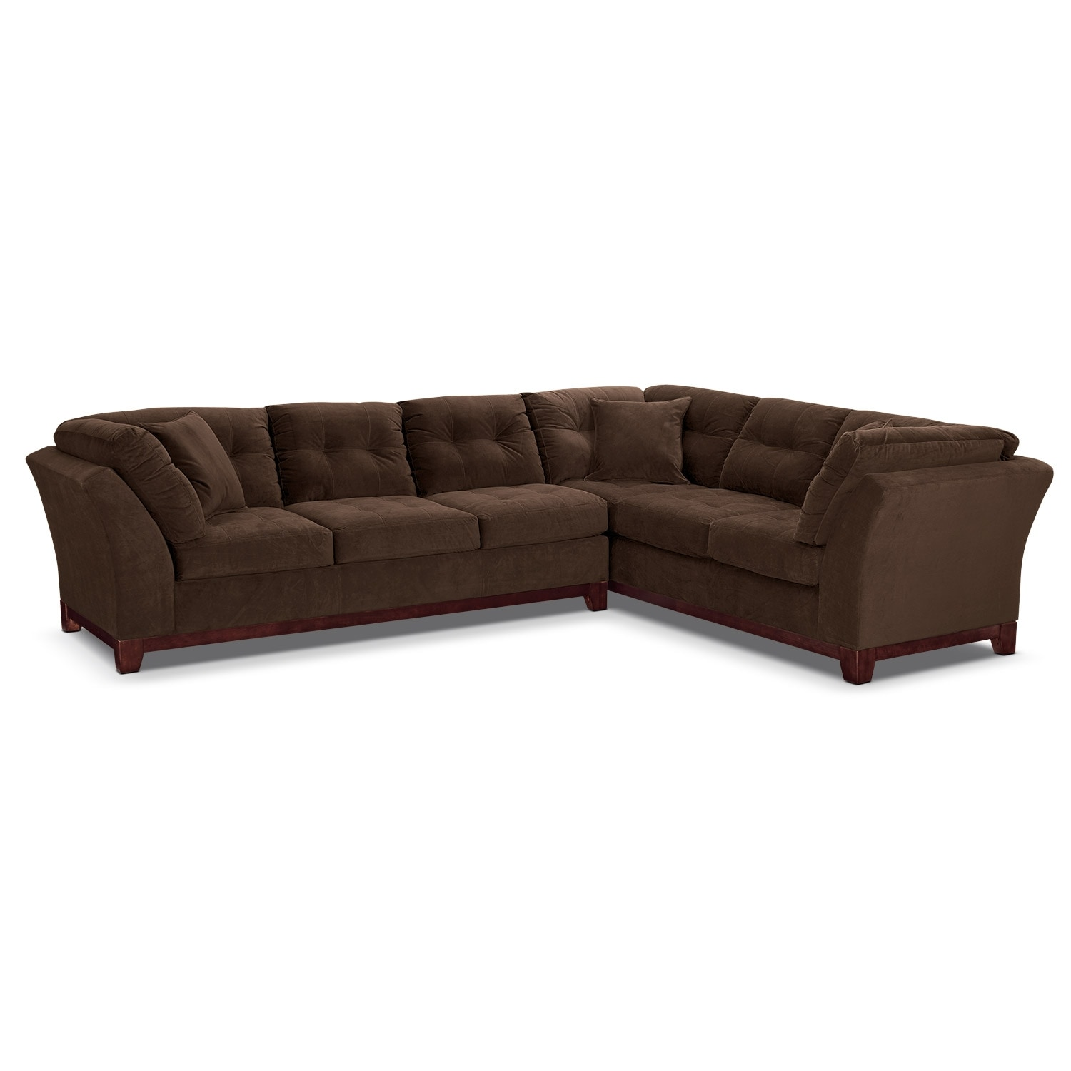 Living Room Furniture - Solace Chocolate II 2 Pc. Sectional (Reverse)