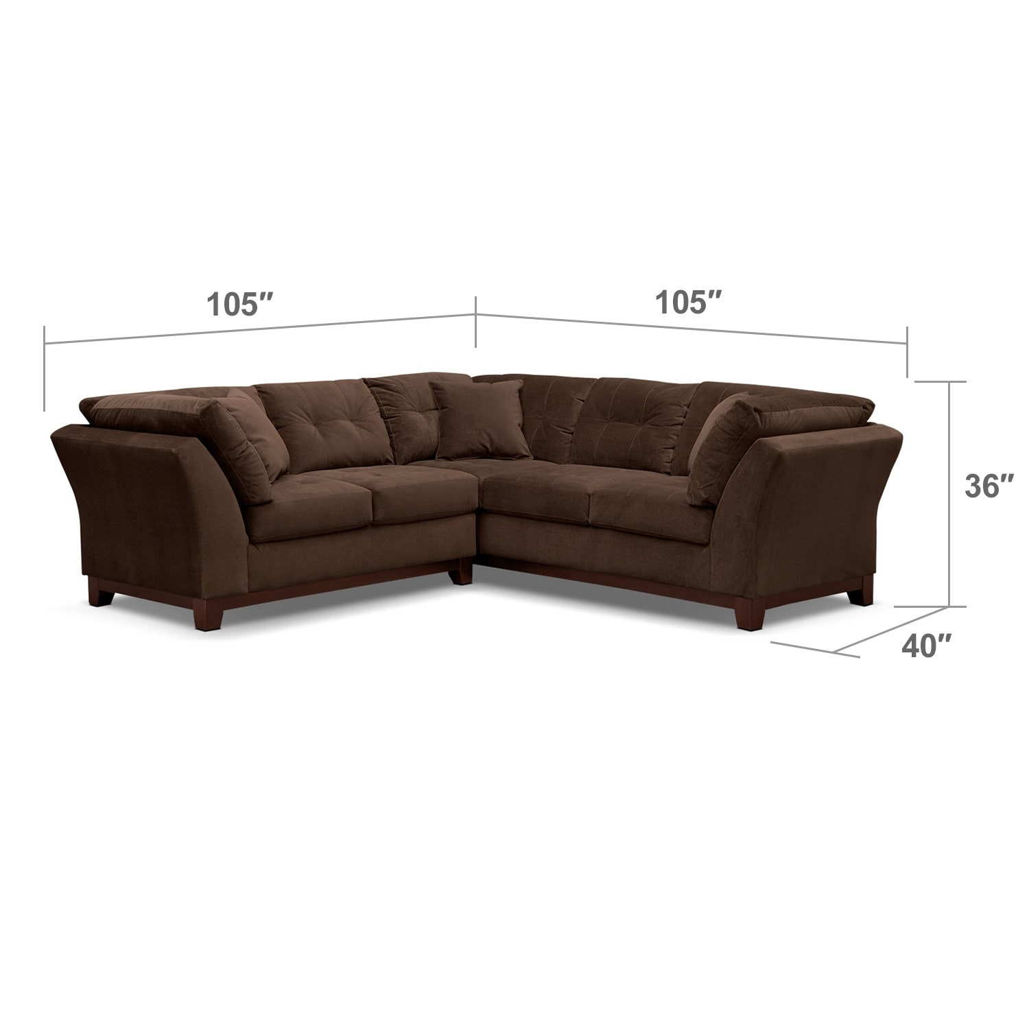 """Living Room Furniture - Solace 2-Piece Right-Facing 105"""" Sofa Sectional - Chocolate"""