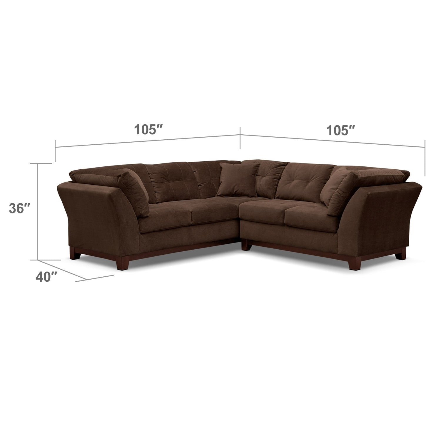 """Living Room Furniture - Solace 2-Piece Left-Facing 105"""" Sofa Sectional - Chocolate"""